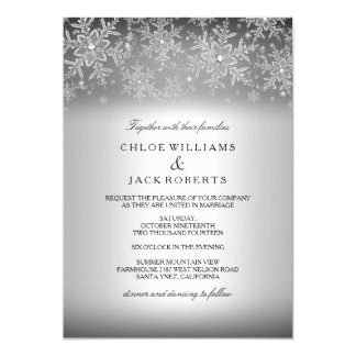 Crystal Snowflake Silver Winter Wedding Invitation