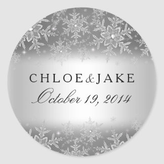 Crystal Snowflake Silver Winter Wedding Sticker