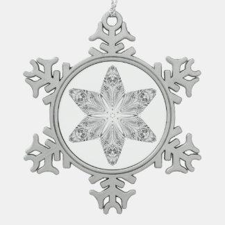 Crystal Snowflake Snowflake Pewter Christmas Ornament