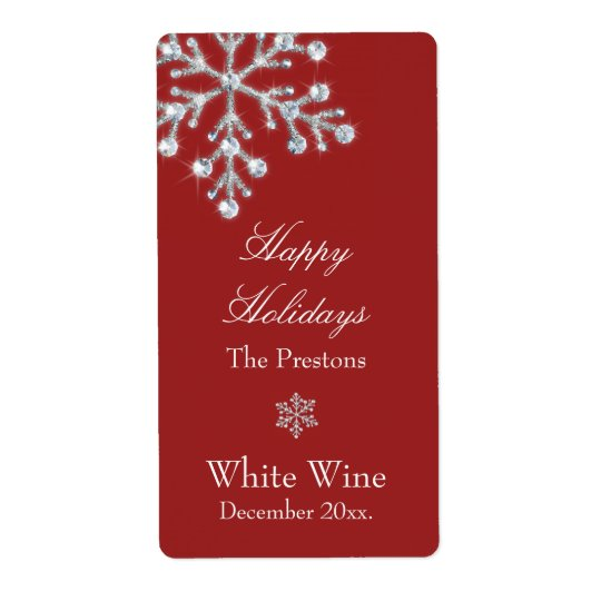 Crystal Snowflake Wine Label (red)