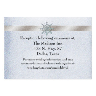 Crystal Snowflake Winter Wedding Enclosure Card Pack Of Chubby Business Cards