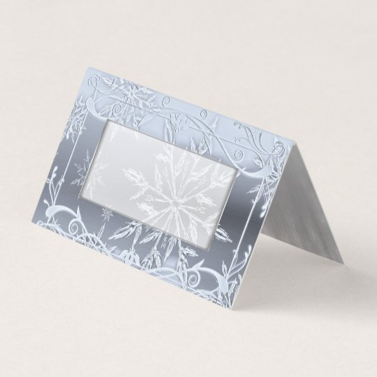 Crystal Snowflake Winter Wedding Folded Place Card