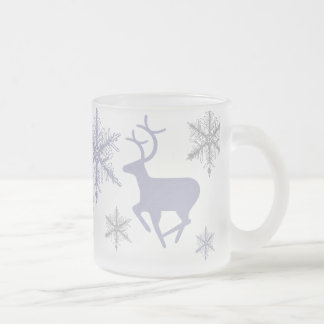 Crystal Snowflakes and Deer Frosted Glass Mug