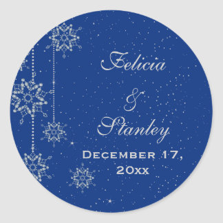 Crystal snowflakes blue wedding Save the Date Classic Round Sticker