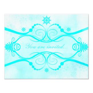 Crystal Snowflakes Shades of Blue 11 Cm X 14 Cm Invitation Card