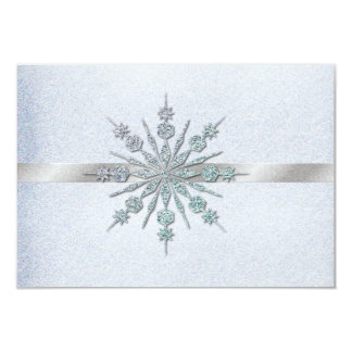 Crystal Snowflakes Winter Wedding RSVP 9 Cm X 13 Cm Invitation Card