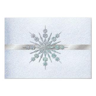 Crystal Snowflakes Winter Wedding RSVP 9 Cm X 13 Cm Invitation Card