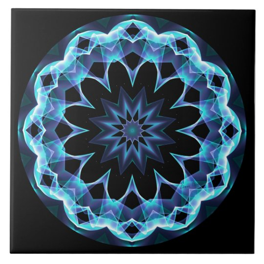 Crystal Star, Abstract Glowing Blue Mandala Tile