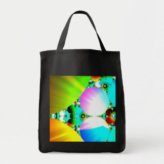 Crystal Sunrise - Abstract Fractal Rainbow Grocery Tote Bag