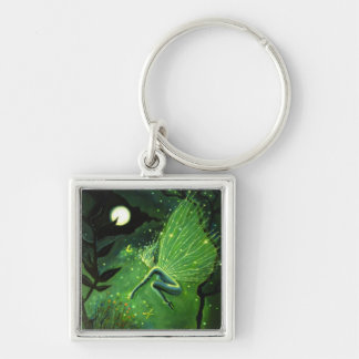 Crystal Water Sprite Silver-Colored Square Key Ring