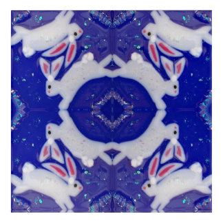 Crystal White Rabbit Medallion Snowflake Blue Art