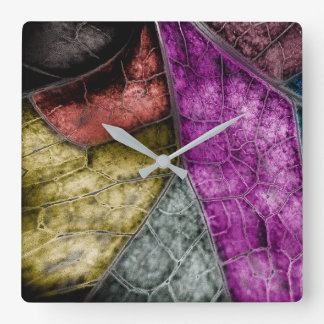 Crystalized Stained Glass Look Leaf Clock