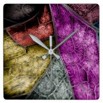 Crystallised Stained Glass Look Leaf Clock