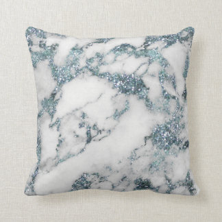 Crystals Glitter Aquamarine White Blue Marble Cushion