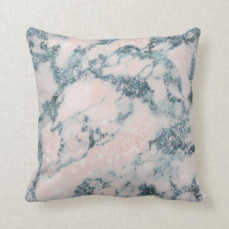 Crystals Glitter Peach White Blue Marble Cushion