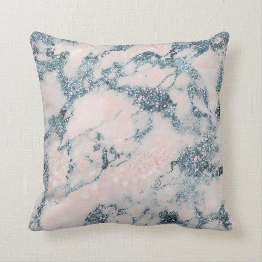 Crystals Glitter Peach White Blue Marble Cushion