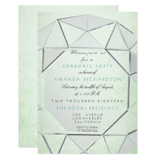 Crystals Graduate Party Mint Green Silver Gray Card