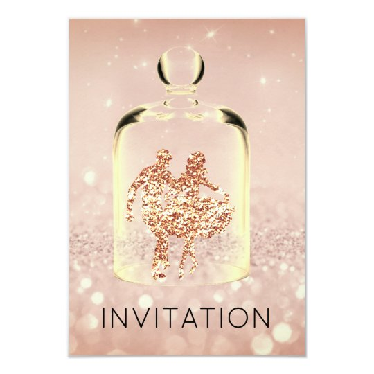 Crystals HoeDown Country Party Rose Copper Glitter Card