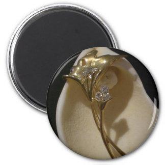 Crystals in Flower 6 Cm Round Magnet