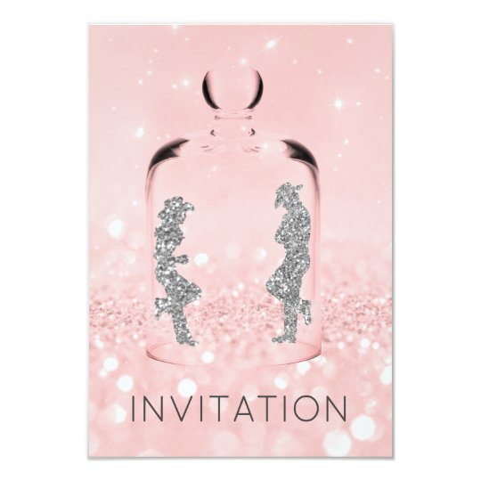 Crystals Western Country Party Glitter Pink Gray Card