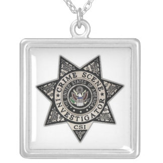 csi crime scene investigator badge silver plated necklace