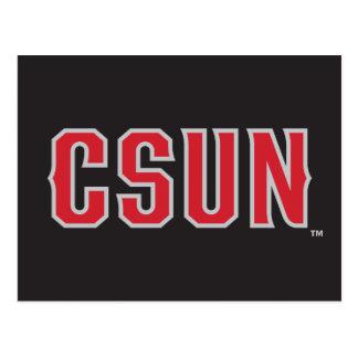 CSUN Logo on Black Postcard