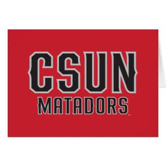 CSUN Matadors - Black with Gray Outline Note Card