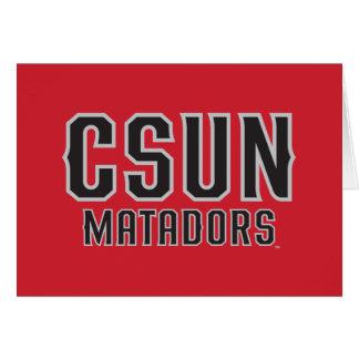 CSUN Matadors - Black with Gray Outline Greeting Card