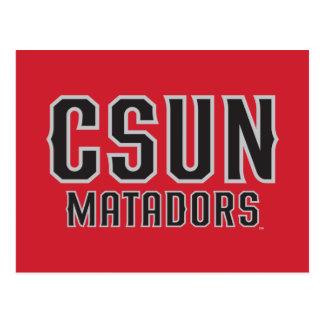 CSUN Matadors - Black with Gray Outline Postcard