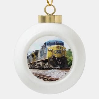 CSX Railroad AC4400CW #6 With a Coal Train Ceramic Ball Christmas Ornament