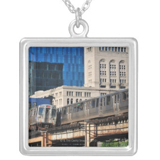 CTA rapid transit Orange Line and Green Line Silver Plated Necklace