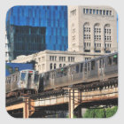 CTA rapid transit Orange Line and Green Line Square Sticker