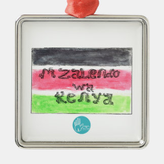 CTC International - Flag Silver-Colored Square Decoration