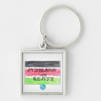 CTC International - Flag Silver-Colored Square Key Ring