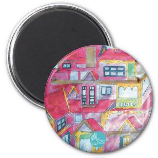 CTC International - Houses 6 Cm Round Magnet