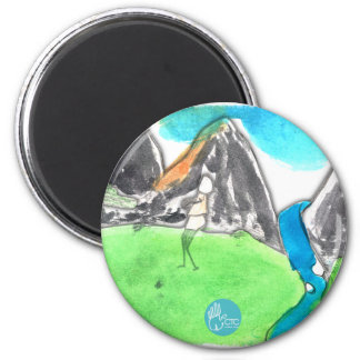 CTC International - Man and River 6 Cm Round Magnet