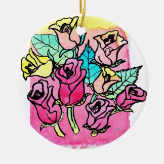 CTC International -  Roses 3 Round Ceramic Decoration