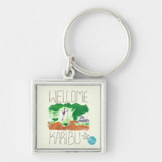 CTC International - Welcome Silver-Colored Square Key Ring