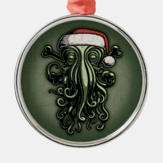 Cthulhu Claus Silver-Colored Round Decoration