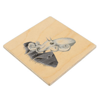 Cthulhu Gentleman Vintage Illustration Coaster Maple Wood Coaster