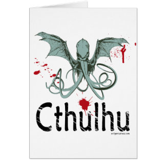 Cthulhu horror vector art card