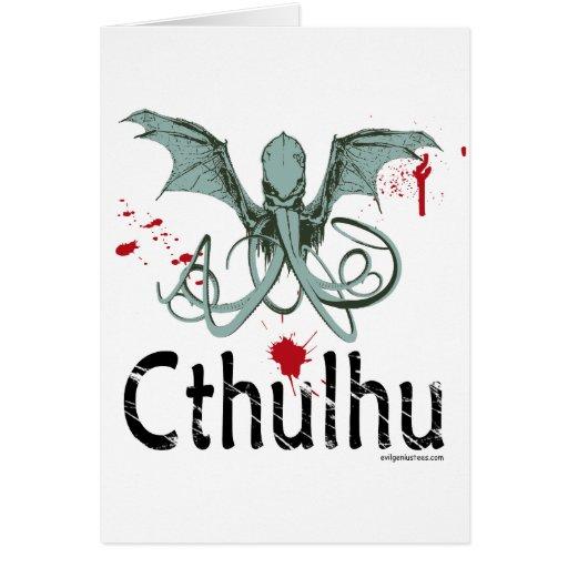 Cthulhu horror vector art card