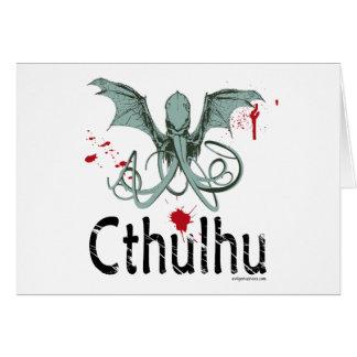 Cthulhu horror vector art greeting card