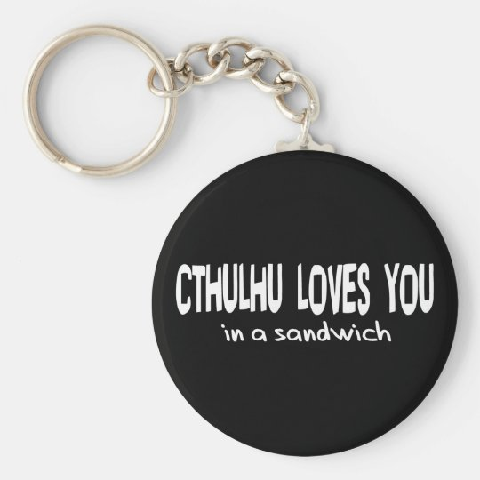 Cthulhu Loves You Basic Round Button Key Ring