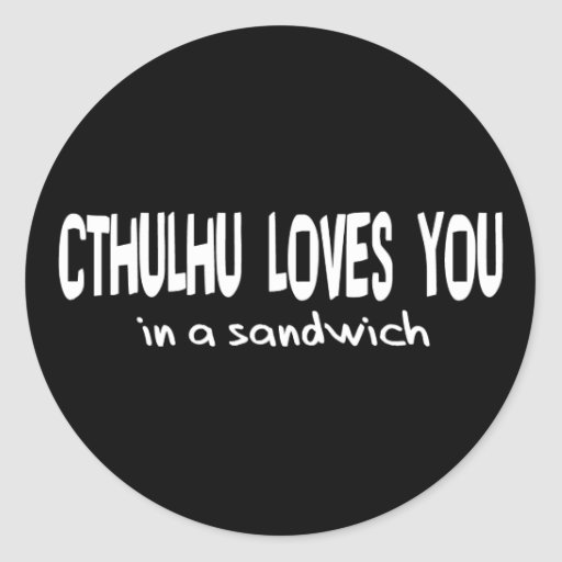 Cthulhu Loves You Round Stickers