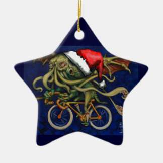 Cthulhu On A Bicycle Ceramic Star Decoration