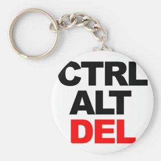 CTRL ALT DEL BASIC ROUND BUTTON KEY RING