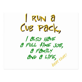 cub leader green postcard