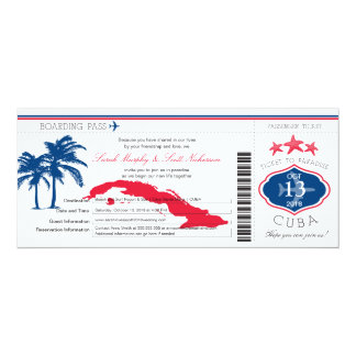 Cuba Boarding Pass Wedding Card