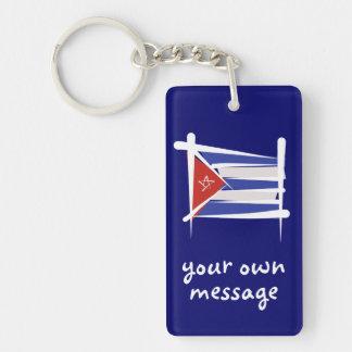 Cuba Brush Flag Double-Sided Rectangular Acrylic Key Ring